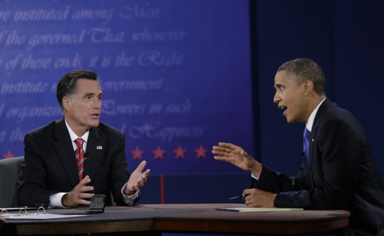 President Barack Obama, right, and Republican presidential nominee Mitt Romney discuss a point during the third presidential debate at Lynn University, Monday, Oct. 22, 2012, in Boca Raton, Fla. AP Photo/Eric Gay