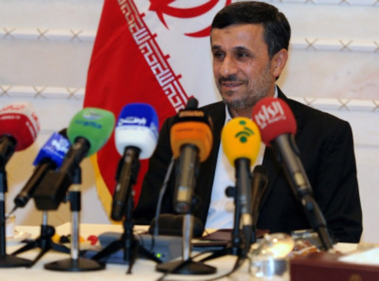 President Mahmoud Ahmadinejad of Iran speaks to journalists during a press conference in Kuwait on Wednesday, Oct.17, 2012.