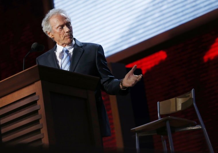 Actor Clint Eastwood addresses an empty chair and questions it as if it is U.S. President Obama, as he endorses Republican presidential nominee Mitt Romney during the final session of the RNC. (Photo: REUTERS/Eric Thayer)