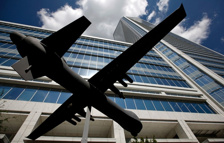 A model of a drone aircraft sits outside Duke Energy headquarters in Uptown, the Charlotte the business district, before the start of the Democratic National Convention (DNC) September 2, 2012 in Charlotte, North Carolina.