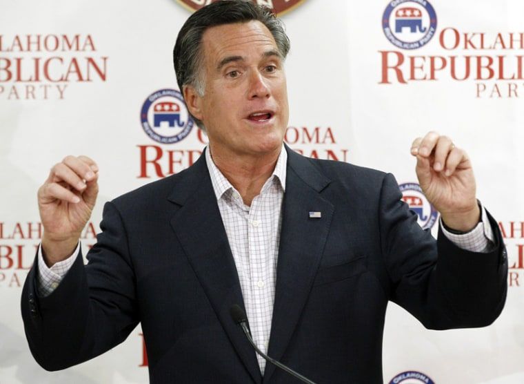 Former Massachusetts Gov. Mitt Romney, gestures as he speaks to supporters at Oklahoma state Republican Party Headquarters in Oklahoma City, May 9, where he repeated his view that marriage should be restricted to one man and one woman. (Photo: Sue...