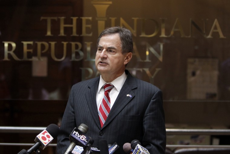 "Indiana Republican Senate candidate Richard Mourdock speaks during a news in Indianapolis, Wednesday, Oct. 24, 2012, to explain the comment he made during last night Senate debate. Mourdock said that when a woman becomes pregnant during a rape, ""that's..."