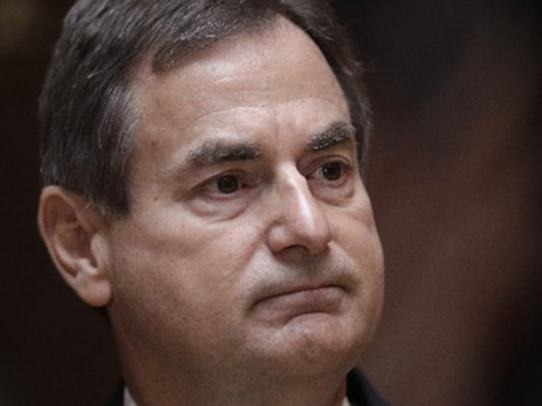 Indiana Senate candidate Richard Mourdock pauses during a news in Indianapolis to explain the comment he made his Senate debate. (Photo: AP Photo/Michael Conroy)