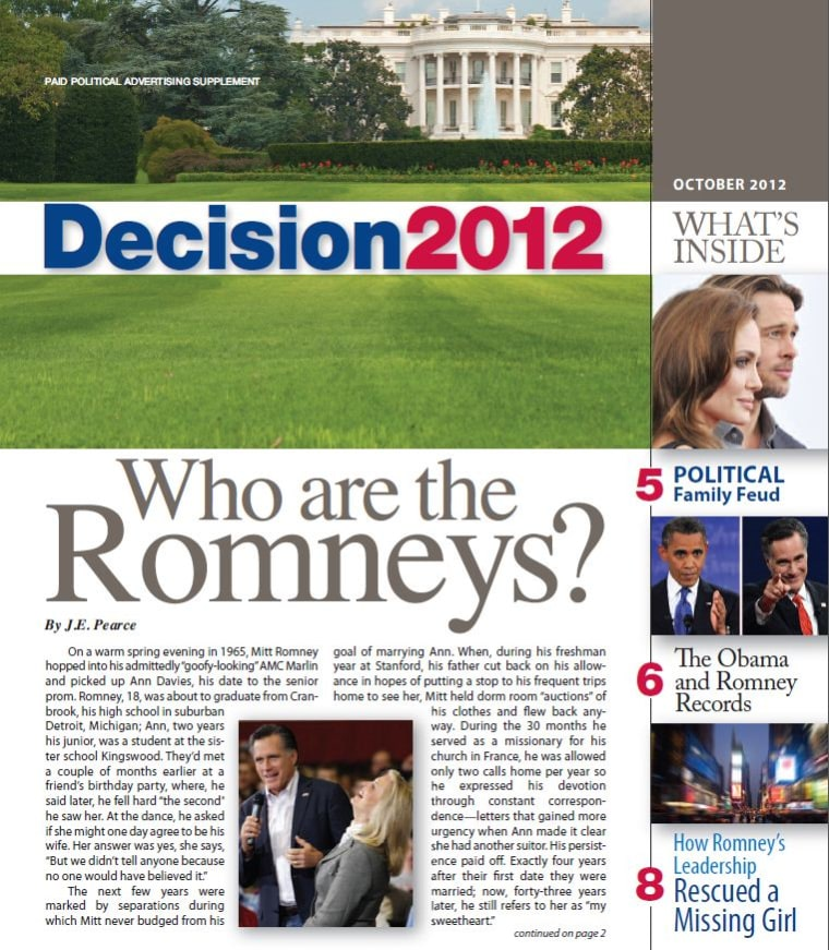 Pro-Romney Super PAC insert for Sunday newspapers in several swing-state cities. (Credit: Ending Spending Action Fund)