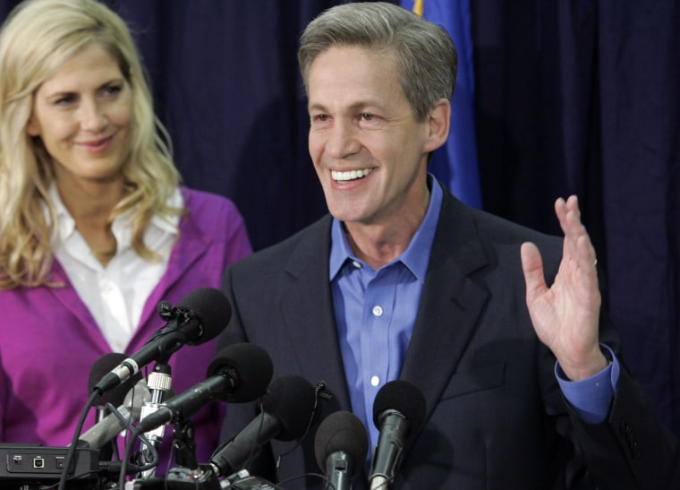 File photo: In this Wednesday, Nov. 5, 2008, picture, Sen. Norm Coleman, R-Minn., claims victory in his reelection bid after the unofficial vote tally showed Coleman and Democrat Al Franken in one of Minnesota's tightest Senate elections. After a six...