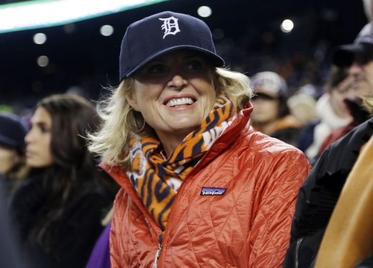 Ann Romney during Game 4 of baseball's World Series Sunday, Oct. 28, 2012, in Detroit. (AP Photo/Darron Cummings)