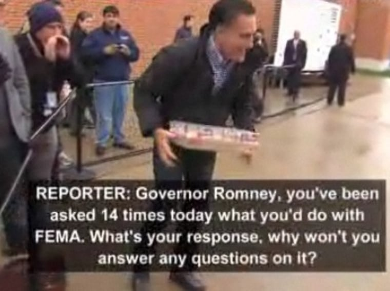 Watch the video, below, to see reporters shouting the FEMA questions at Romney.