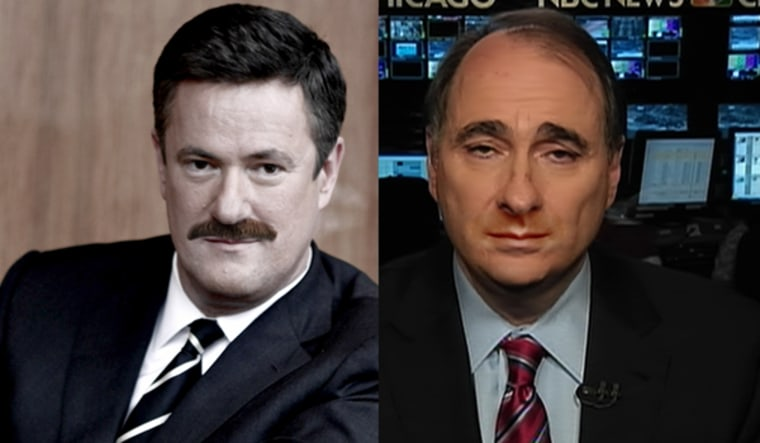 Joe Scarborough with a sample 'stache and David Axelrod without his trademark Chevron mustache