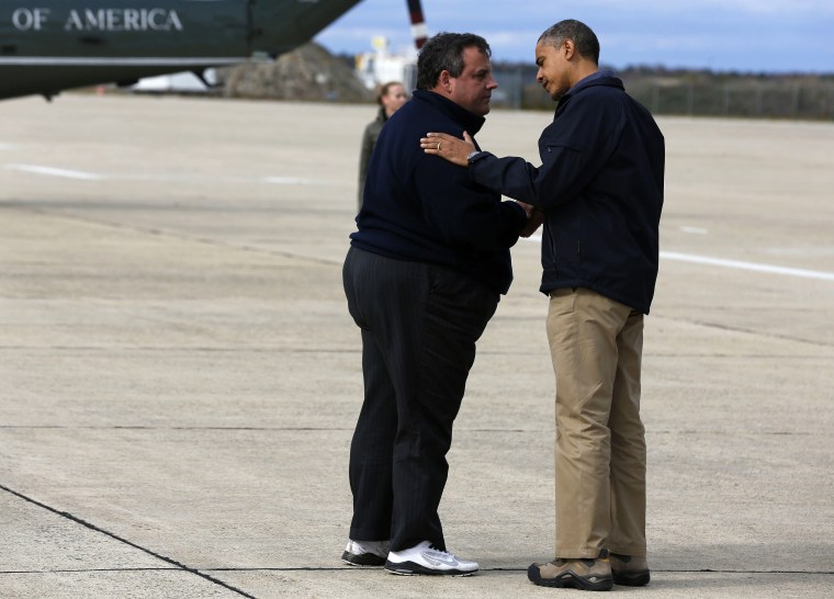 New Jersey Gov.Chris Christie greeting President Obama at the Atlantic City International Airport before surveying Hurricane Sandy damage. (Larry Downing/Reuters)