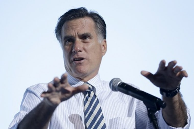 Republican presidential candidate Mitt Romney speaking at a campaign stop in Tampa, Fla. on Wednesday. (Charles Dharapak/AP Photo/)