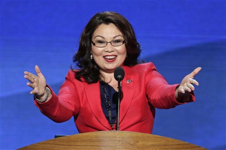 In this Sept. 4, 2012 file photo, Tammy Duckworth, former assistant secretary of the U.S. Department of Veterans Affairs and a candidate for Illinois' 8th Congressional District seat, addresses the Democratic National Convention in Charlotte, N.C....