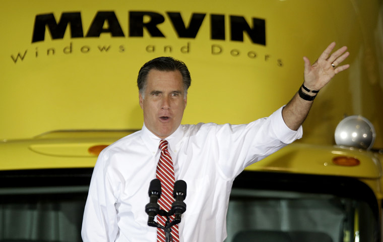 Republican presidential candidate, former Massachusetts Gov. Mitt Romney gestures as he speaks at a campaign event at Integrity Windows in Roanoke, Va., Thursday, Nov. 1, 2012. (AP Photo/David Goldman)
