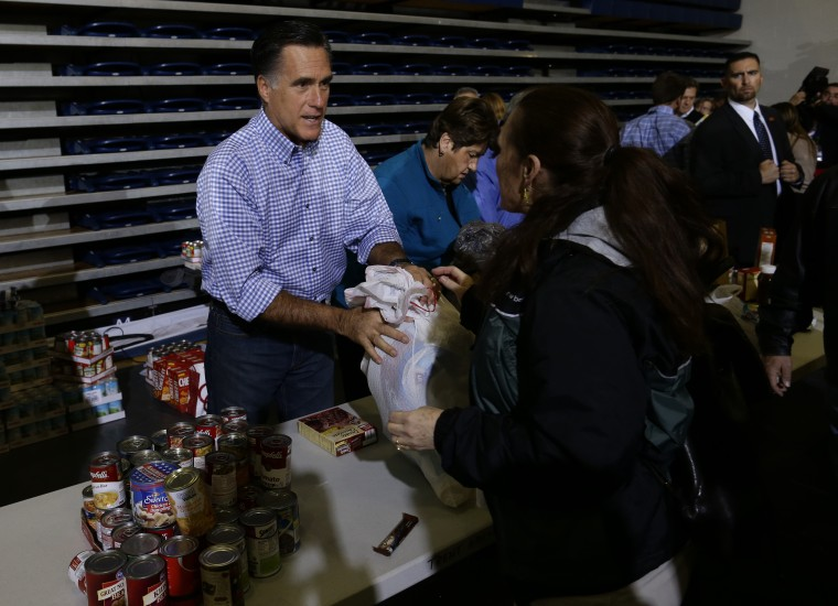 Republican presidential candidate and former Massachusetts Gov. Mitt Romney receives food donations as he participates in a campaign event collecting supplies from residents local relief organizations for victims of superstorm Sandy at the James S....