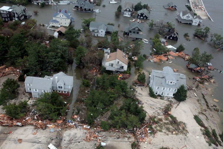 Aerial views of the damage caused by Hurricane Sandy to the New Jersey coast taken during a search and rescue mission by 1-150 Assault Helicopter Battalion, New Jersey Army National Guard, Oct. 30, 2012.  (Photo by AP/Rex Features)