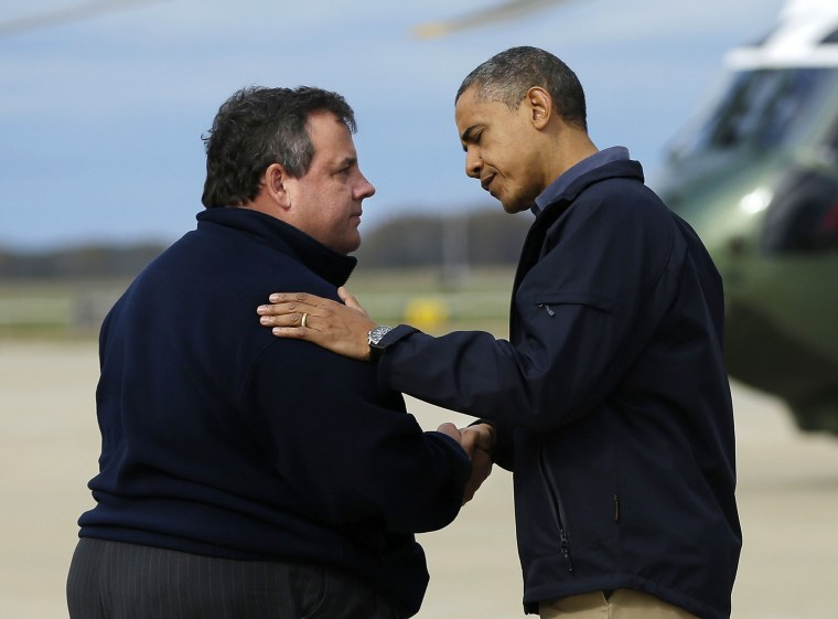 President Barack Obama is greeted by New Jersey Gov. Chris Christie upon his arrival at Atlantic City International Airport, Wednesday, Oct. 31, 2012, in Atlantic City, NJ. Obama traveled to the region to take an aerial tour of New Jersey's coastline...