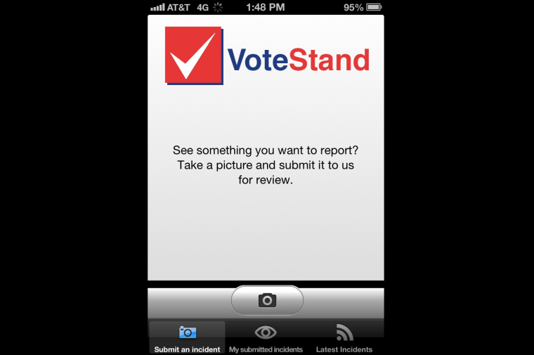Screen shot fo the VoteStand app