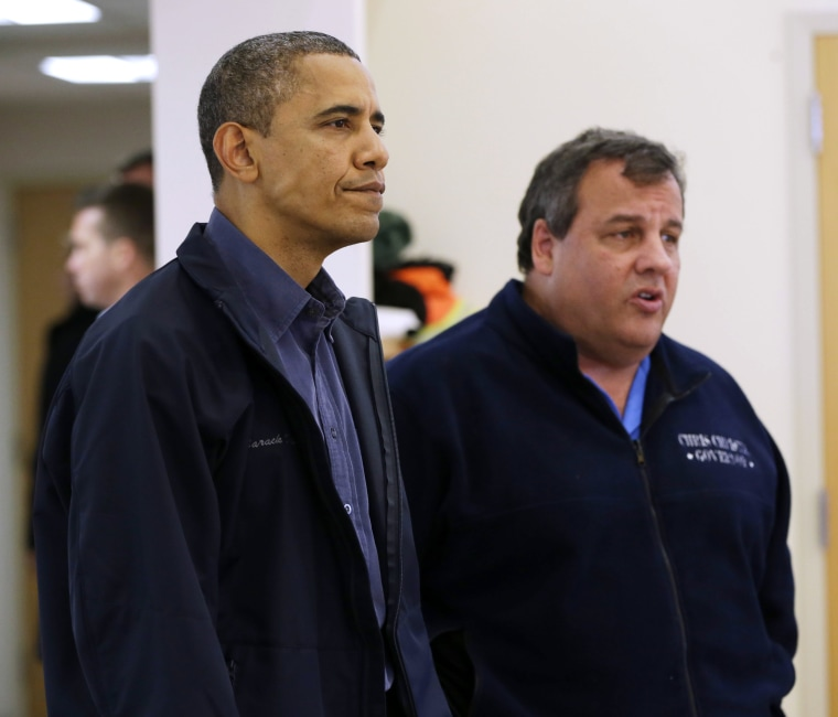 President Barack Obama and New Jersey Gov. Chris Christie visit the Brigantine Beach Community Center to meet with local residents, Wednesday, Oct. 31, 2012,  in Brigantine, NJ. Obama traveled to Atlantic Coast to see first-hand the relief efforts...