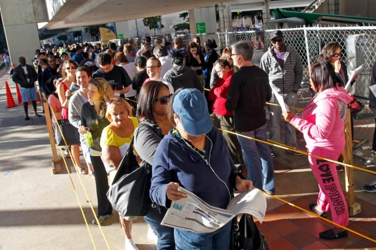In this Nov. 3, 2012, photo, South Floridians stand in line during the last day of early voting in Miami. (AP Photo/Alan Diaz)
