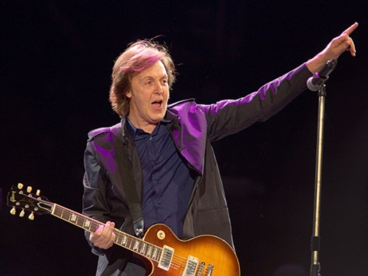 Paul McCartney performing at the Hard Rock Calling festival in London, July 14, 2012. (Rex Features via AP Images)