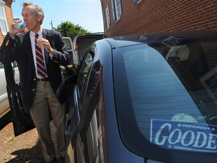 In this Thursday, Sept. 13, 2012 photo, presidential candidate Virgil Goode Jr. hits the campaign trail by car in Rocky Mount, Va. The former congressman has qualified for the presidential ballot in Virginia, adding a potential obstacle to Republican...
