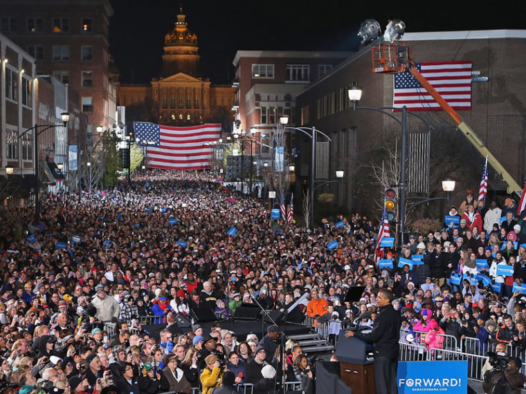 At his last campaign rally, President Obama reached out to supporters in Des Moines, Iowa just one night before the general election. (Chip Somodevilla/Getty Images)
