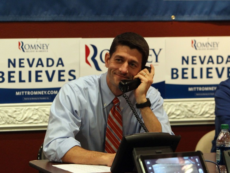 Republican vice presidential candidate, Rep. Paul Ryan of Wisconsin mans the phones at the Team Nevada headquarters in Las Vegas, Thursday, Nov. 1, 2012. (AP Photo/Las Vegas Review-Journal, Jerry Henkel, pool)