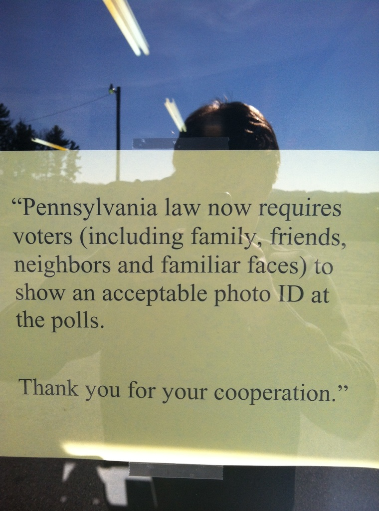 Inaccurate voter ID information posted in Rose Township, Penn. (Silas Wonderling for msnbc.com)