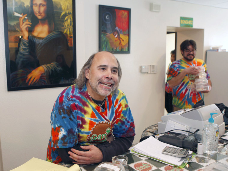 """FILE PHOTO: In this file photo from 2009, Steve Horowitz the owner of """"Ganja Gourmet"""" talks about his new business in  Denver on Wednesday, Dec. 9, 2009. The new pot shop is luring patients with promises of high-end food packing a dose of medical..."""