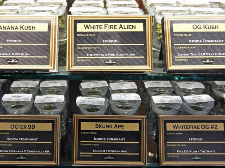 """Several varieties of marijuana buds including """"Skunk Ape"""" and """"White Fire Alien"""" are displayed for sale at a medical marijuana center in Denver April 2, 2012. (Photo by /Rick Wilking/Reuters)"""