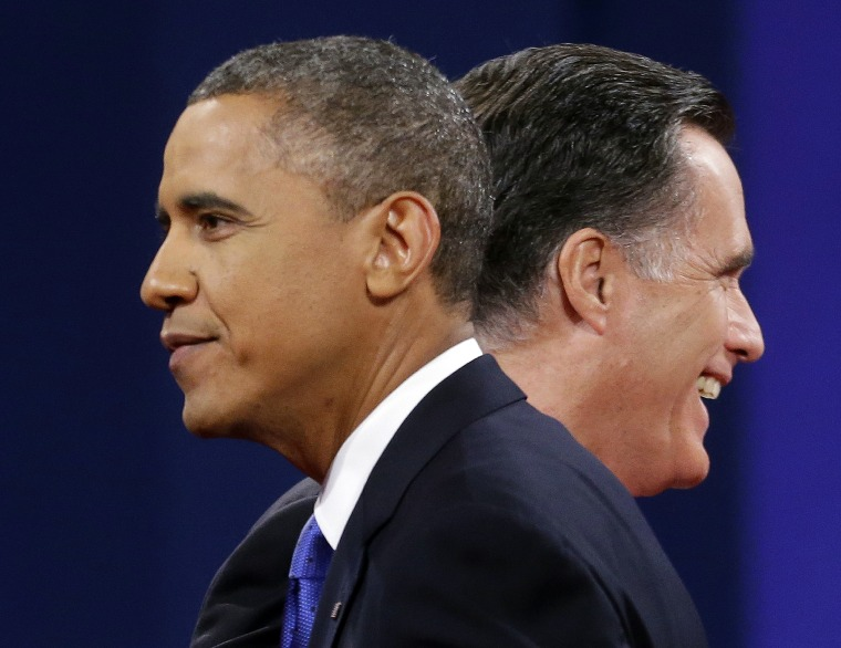 Republican presidential candidate, former Massachusetts Gov. Mitt Romney and President Barack Obama walk past each other on stage at the end of the last debate at Lynn University, Monday, Oct. 22, 2012, in Boca Raton, Fla. (AP Photo/Pablo Martinez...