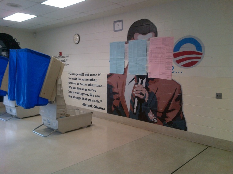 The mural at a Philadelphia polling place after it had been partially covered by the election official in charge. Courtesy: WCAU