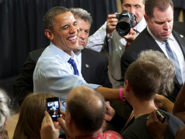 U.S. President Barrack Obama greets supporters during a rally at the Richard and Norma Small Multi-Sports Center Gym at Cornell College on October 17, 2012 in Mount Vernon, Iowa. President Obama visited the college campus in Iowa, a state that is still...