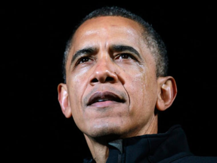 President Obama giving a speech with tears in his eyes at his final campaign rally in Des Moines, Iowa on the eve of the 2012 election. (Jason Reed/Reuters)