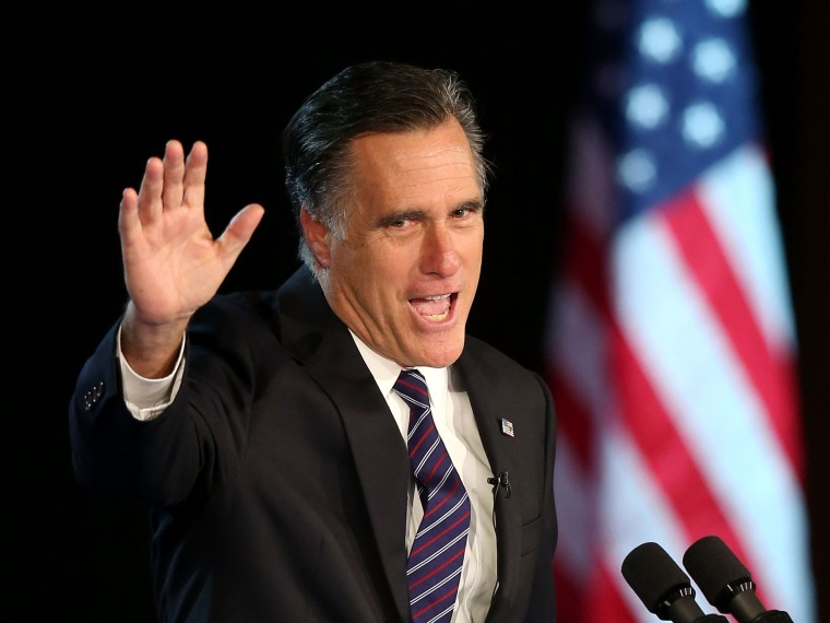 Mitt Romney giving a concession speech at the Exhibition Center in Boston, Massachusetts. (Alex Wong/Getty Images)