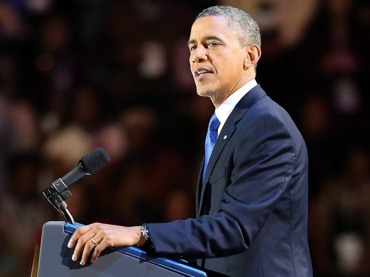 U.S. President Barack Obama delivers his victory speech after being reelected for a second term at McCormick Place November 6, 2012 in Chicago, Illinois. Obama won reelection against Republican candidate, former Massachusetts Governor Mitt Romney.  ...