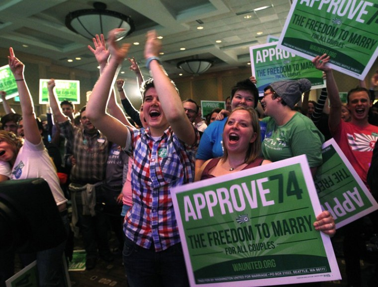 Supporters cheer at an election watch party for proponents of Washington's Referendum 74, which would uphold the state's new same-sex marriage law, Tuesday, Nov. 6, 2012, in Seattle. (AP Photo/Elaine Thompson)