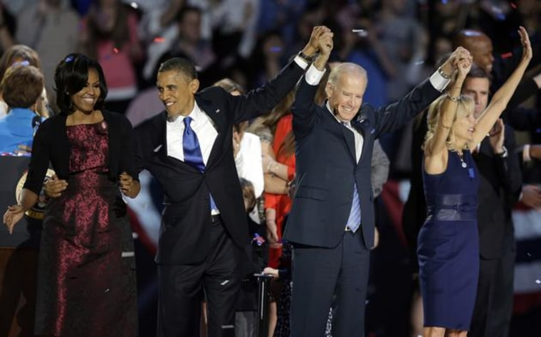 President Obama re-elected. (AP Photo/Chris Carlson)