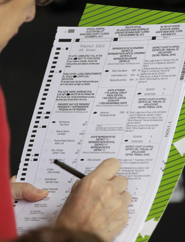 A voter marks her ballot in Hialeah, Fla., on Election Day, Tuesday, Nov. 6, 2012. (AP Photo/Alan Diaz)