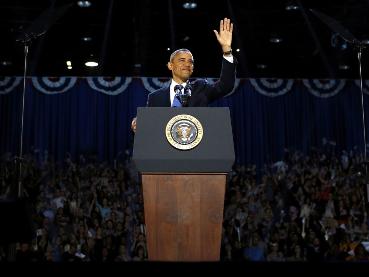 U.S. President Barack Obama acknowledges supporters while addressing his election night victory rally in Chicago, November 6, 2012.  (Photo by REUTERS/Jason Reed)