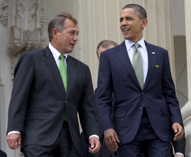FILE - This March 20, 2012 file photo shows House Speaker John Boehner of Ohio and President Barack Obama walk down the steps of the Capitol in Washington. The people of an intensely divided nation just created a government that looks the same way as...