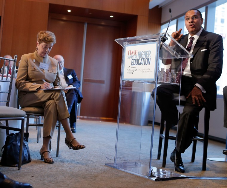"""NEW YORK, NY - OCTOBER 18:  President of the University of Maryland, Baltimore County Freeman A. Hrabowski the 3rd speaks during the \""""From Acceptance Letter to Diploma:Ensuring Access and Success\"""" panel during the TIME Summit On Higher Education on..."""