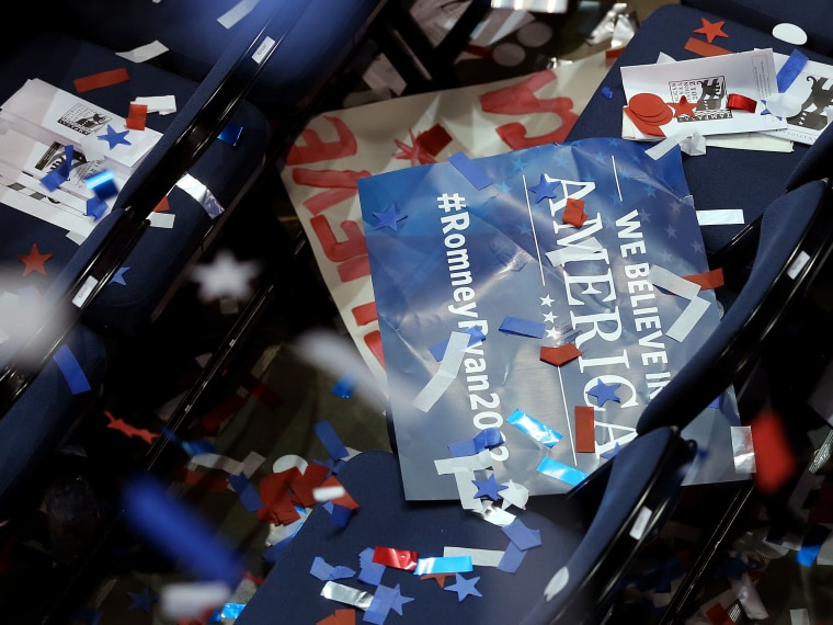 A campaign sign sits on a seat after Republican presidential candidate, former Massachusetts Gov. Mitt Romney accepted the nomination during the final day of the Republican National Convention at the Tampa Bay Times Forum on August 30, 2012 in Tampa,...