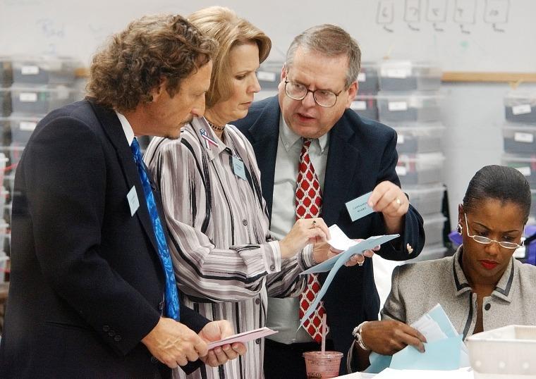 Broward County canvass board members Judge Jay Spechler, Diana Wasserman-Rubin, and Bruce Eldridge, from left, talk while county election supervisor Mariam Oliphant checks ballots. (AP Photo/J. Pat Carter)