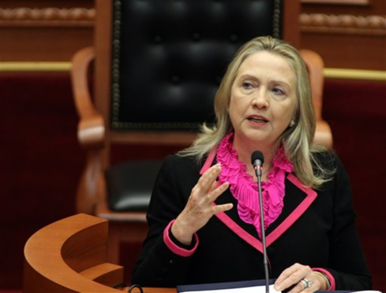 U.S. Secretary of State Hillary Rodham Clinton earlier this month.  (AP Photo/Hektor Pustina)