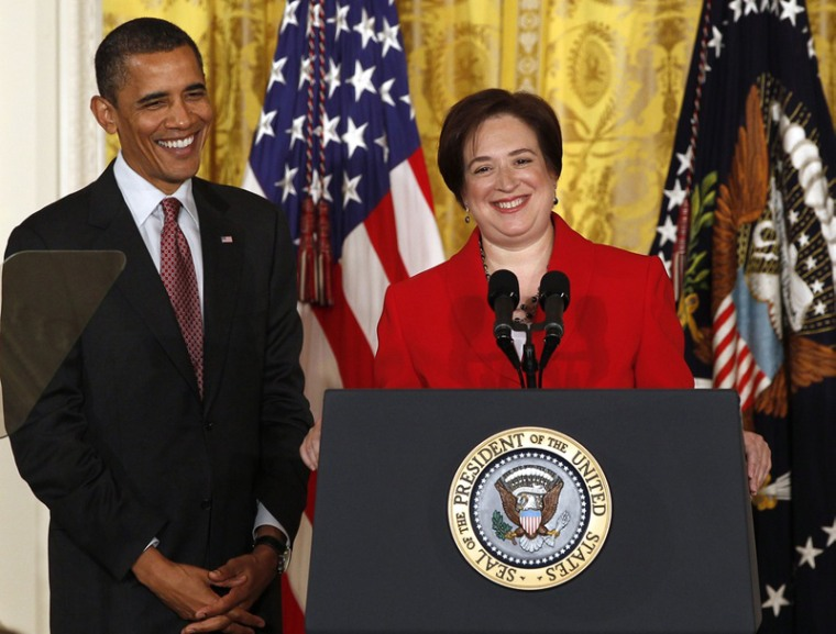 President Barack Obama hosts a reception for Elena Kagan in the East Room of the White House after the U.S. Senate voted in favor of her being a Supreme Court Associate Justice in Washington, August 6, 2010. (Photo: Larry Downing/Reuters)