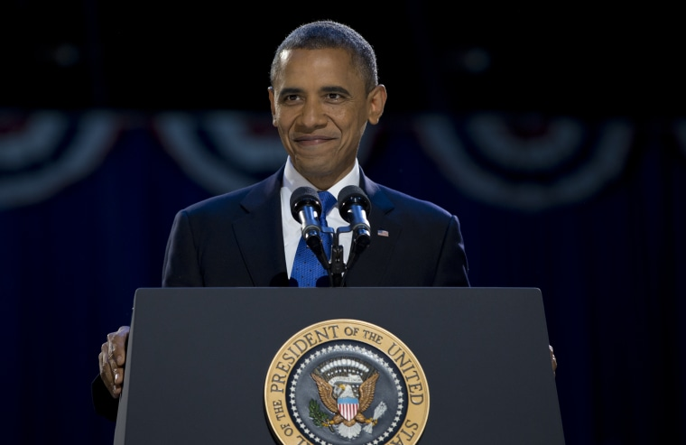 President Barack Obama, accompanied by first last Michelle Obama and daughters Malia and Sasha arrive at the election night party at McCormick Place, Wednesday, Nov. 7, 2012, in Chicago, to proclaim victory in the presidential election. (AP Photo...