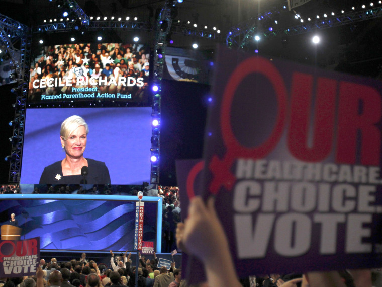 FILE PHOTO: Cecile Richards, President of Planned Parenthood Federation of America, addresses the second session of the Democratic National Convention in Charlotte, North Carolina September 5, 2012.  (Photo by Jessica Rinaldi/Reuters)