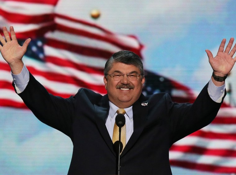 President of the American Federation of Labor and Congress of Industrial Organizations (AFL–CIO) Richard Trumka speaks during day two of the Democratic National Convention September 5 in Charlotte, N.C. (Photo: Alex Wong/Getty Images)