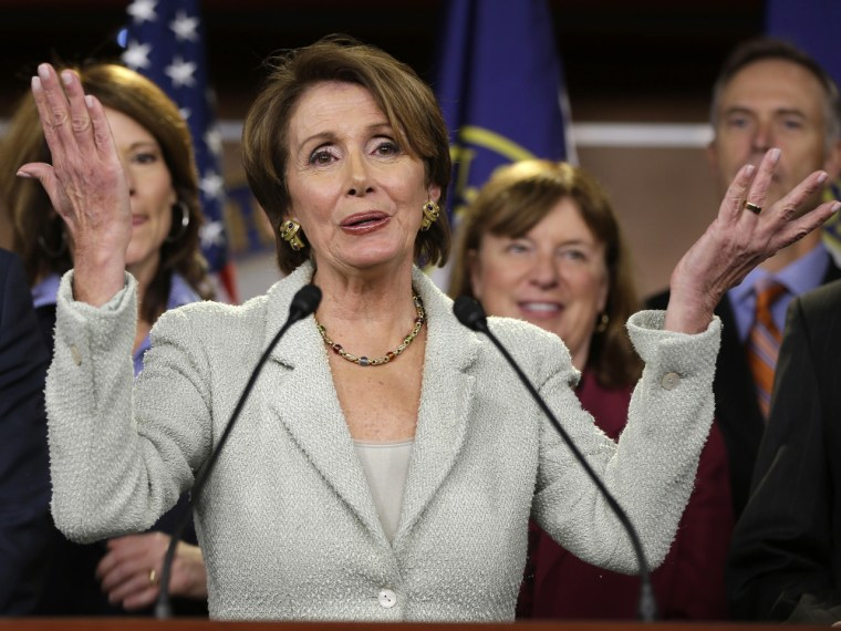 House Minority Leader Nancy Pelosi of Calif. gestures during a news conference on Capitol Hill in Washington, Tuesday, Nov. 13, 2102,  with newly elected Democratic House members. (AP Photo/Pablo Martinez Monsivais)