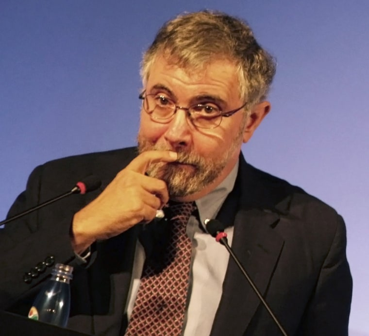 Krugman talks to the audience during a conference about the current global crisis, in Sao Paulo September 14, 2012.  (REUTERS/Nacho Doce)